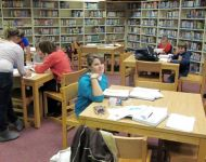 Student in the Library Media Center
